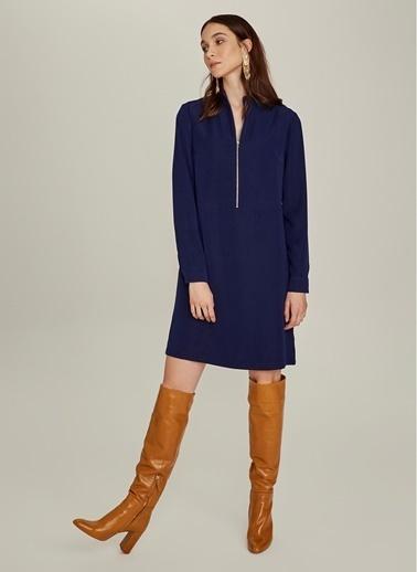NGSTYLE Essentials - Fermuar Detaylı Krep Elbise Lacivert